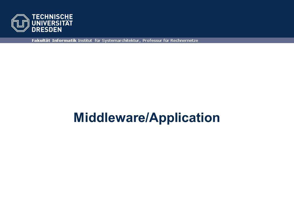 Middleware/Application Fakultät Informatik Institut für Systemarchitektur, Professur für Rechnernetze
