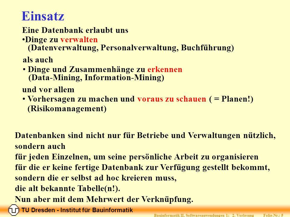 TU Dresden - Institut für Bauinformatik Folie-Nr.: 15 Bauinformatik II, Softwareanwendungen 1; 2.