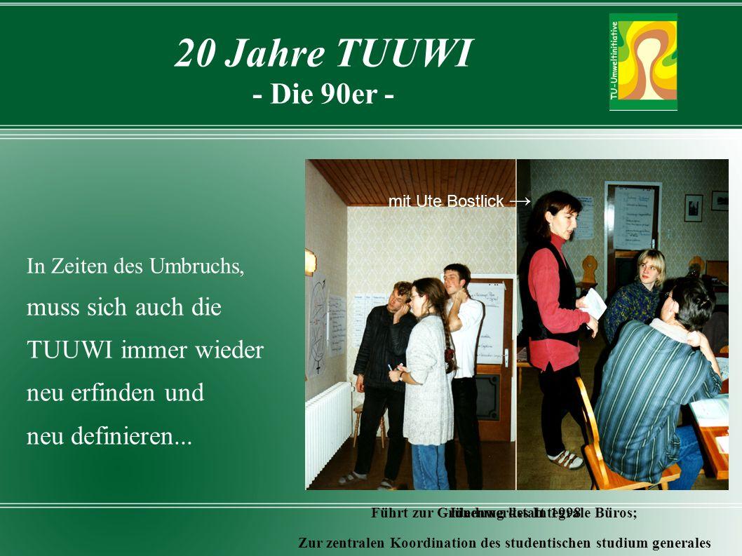 In Zeiten des Umbruchs, muss sich auch die TUUWI immer wieder neu erfinden und neu definieren...