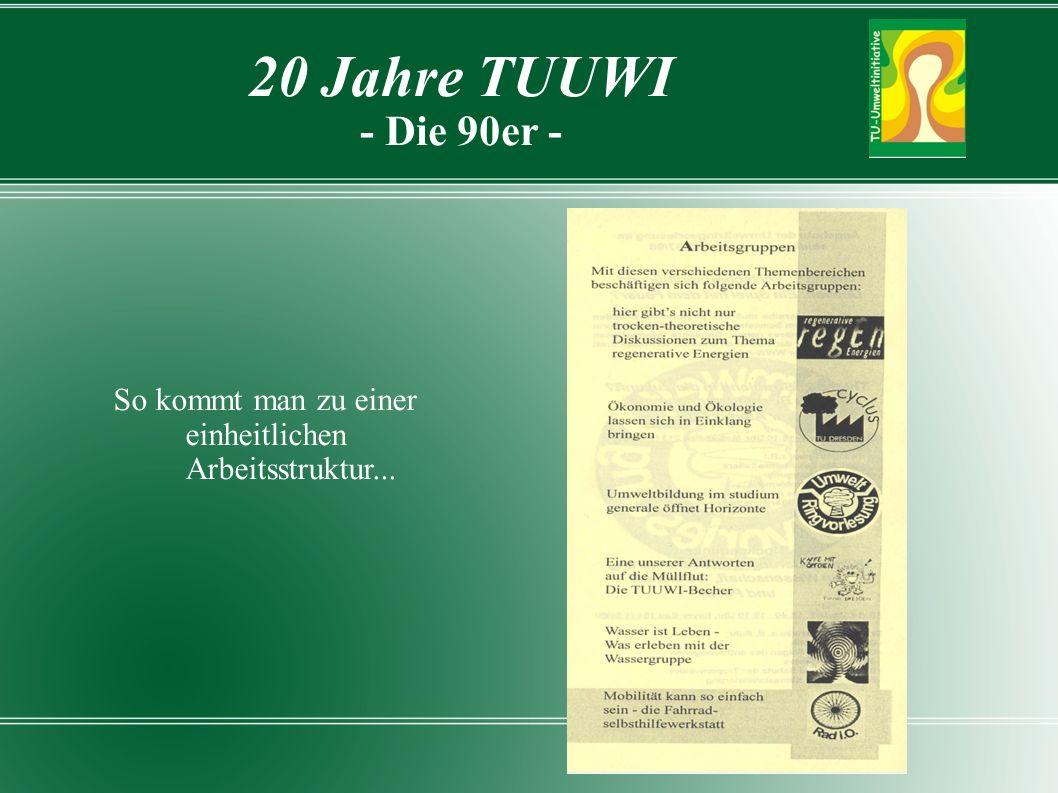 So kommt man zu einer einheitlichen Arbeitsstruktur... 20 Jahre TUUWI - Die 90er -