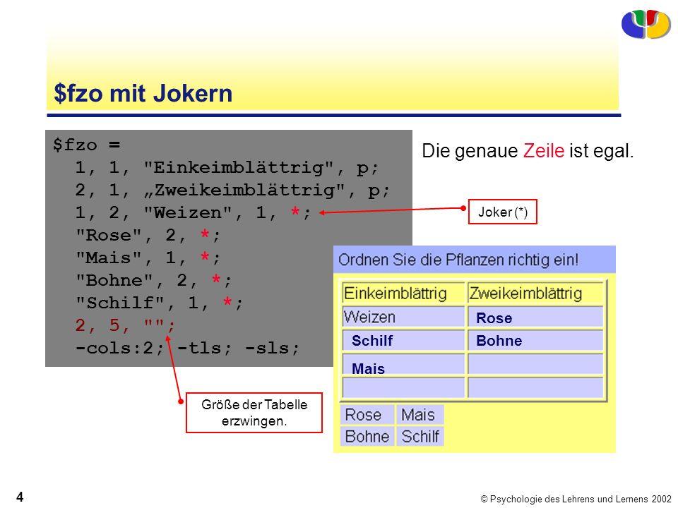 © Psychologie des Lehrens und Lernens 2002 4 $fzo mit Jokern $fzo = 1, 1, Einkeimblättrig , p; 2, 1, Zweikeimblättrig , p; 1, 2, Weizen , 1, *; Rose , 2, *; Mais , 1, *; Bohne , 2, *; Schilf , 1, *; 2, 5, ; -cols:2; -tls; -sls; Joker (*) Die genaue Zeile ist egal.