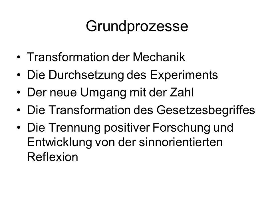 Grundprozesse Transformation der Mechanik Die Durchsetzung des Experiments Der neue Umgang mit der Zahl Die Transformation des Gesetzesbegriffes Die T