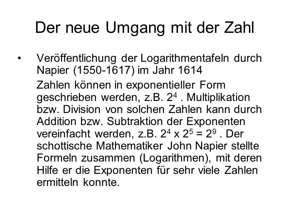 Der neue Umgang mit der Zahl Veröffentlichung der Logarithmentafeln durch Napier (1550-1617) im Jahr 1614 Zahlen können in exponentieller Form geschri