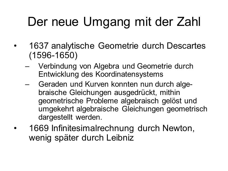 Der neue Umgang mit der Zahl 1637 analytische Geometrie durch Descartes (1596-1650) –Verbindung von Algebra und Geometrie durch Entwicklung des Koordi