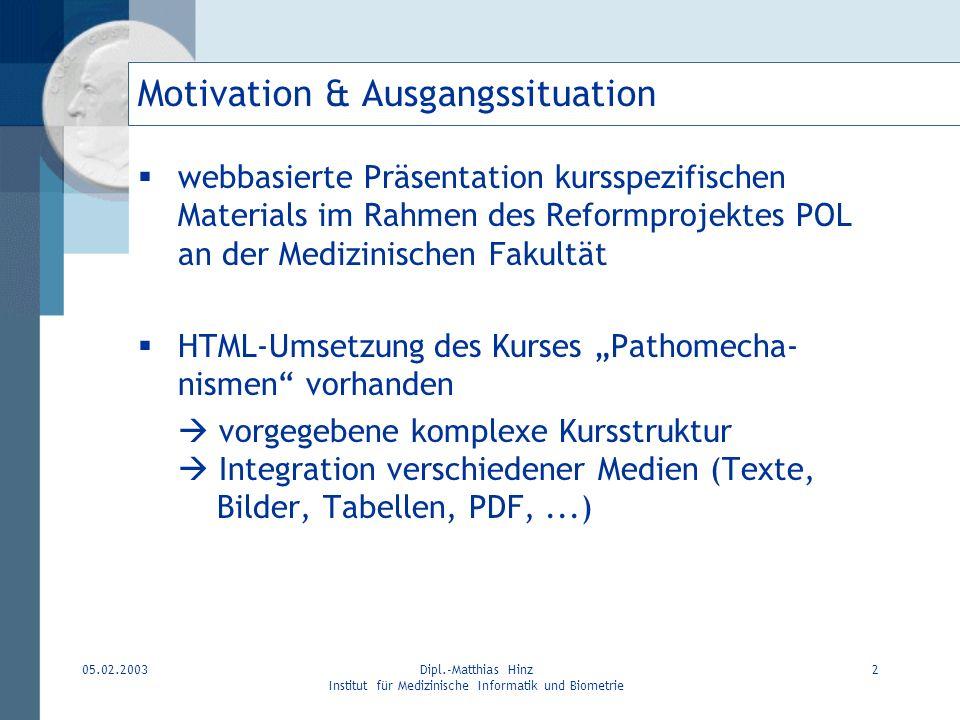 05.02.2003Dipl.-Matthias Hinz Institut für Medizinische Informatik und Biometrie 2 Motivation & Ausgangssituation webbasierte Präsentation kursspezifi