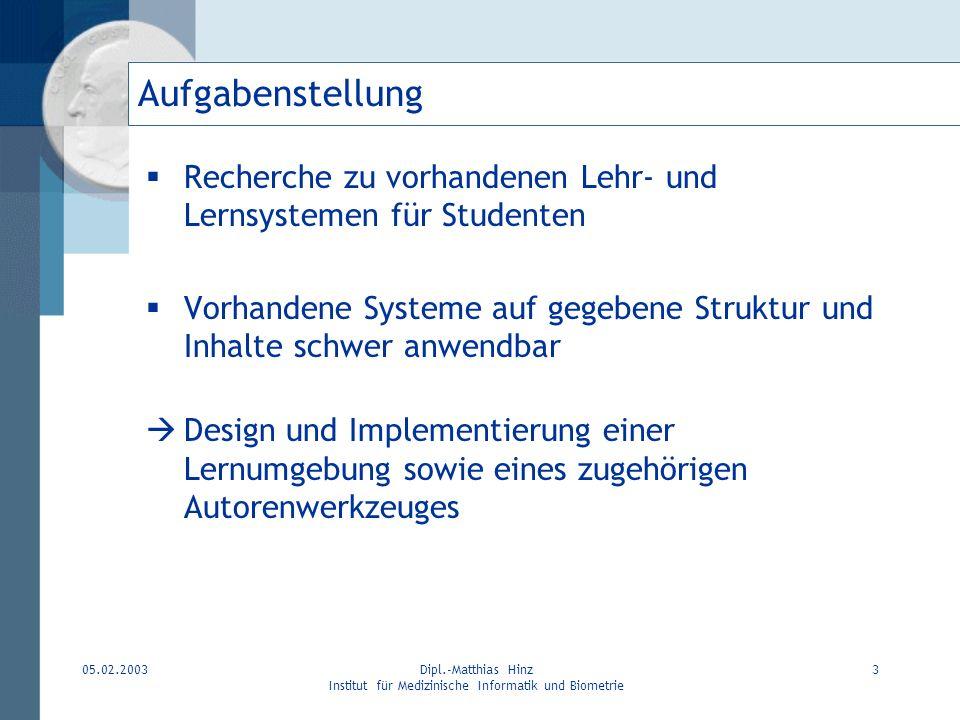 05.02.2003Dipl.-Matthias Hinz Institut für Medizinische Informatik und Biometrie 3 Aufgabenstellung Recherche zu vorhandenen Lehr- und Lernsystemen fü