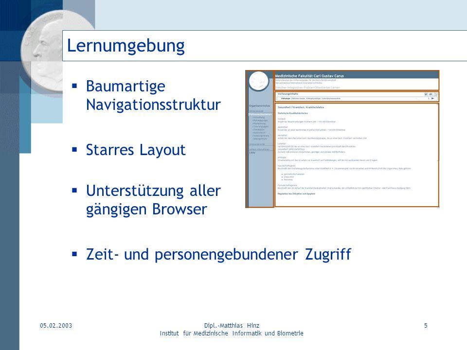 05.02.2003Dipl.-Matthias Hinz Institut für Medizinische Informatik und Biometrie 5 Lernumgebung Baumartige Navigationsstruktur Starres Layout Unterstü