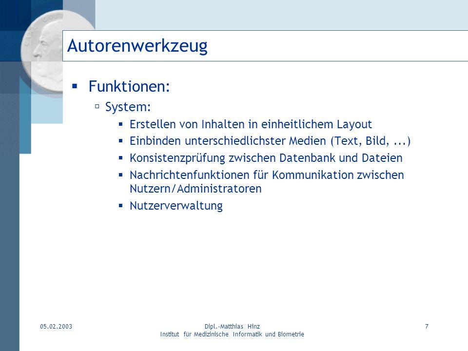 05.02.2003Dipl.-Matthias Hinz Institut für Medizinische Informatik und Biometrie 7 Autorenwerkzeug Funktionen: System: Erstellen von Inhalten in einhe