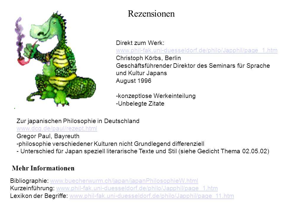 Rezensionen Direkt zum Werk: www.phil-fak.uni-duesseldorf.de/philo/Japphil/page_1.htm Christoph Körbs, Berlin Geschäftsführender Direktor des Seminars