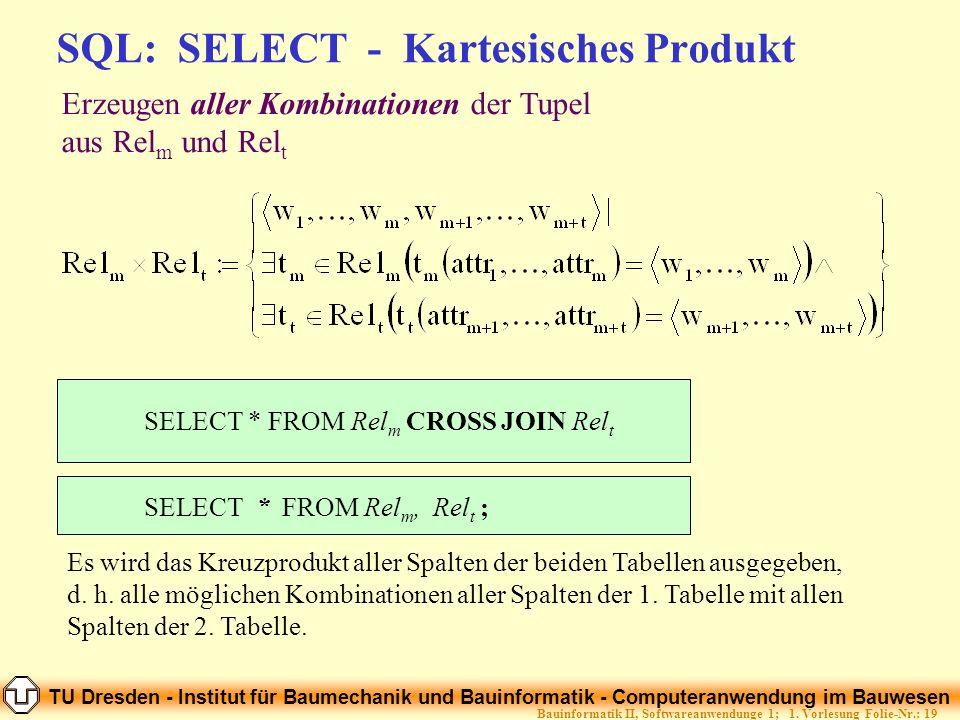 TU Dresden - Institut für Baumechanik und Bauinformatik - Computeranwendung im Bauwesen Folie-Nr.: 19Bauinformatik II, Softwareanwendunge 1; 1. Vorles