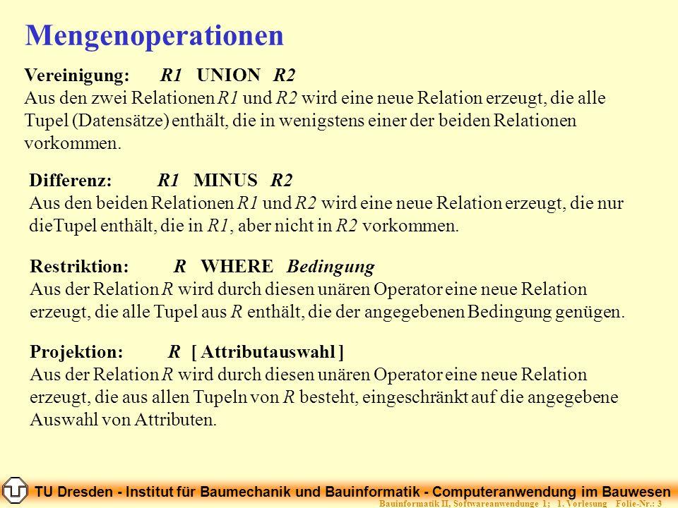 TU Dresden - Institut für Baumechanik und Bauinformatik - Computeranwendung im Bauwesen Folie-Nr.: 3Bauinformatik II, Softwareanwendunge 1; 1. Vorlesu