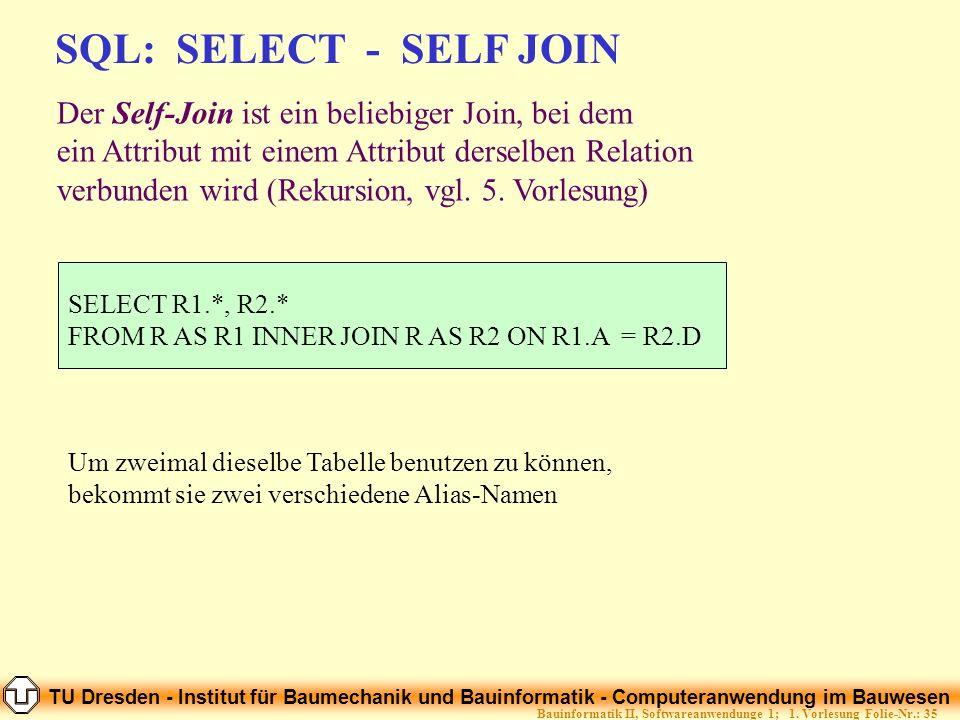 TU Dresden - Institut für Baumechanik und Bauinformatik - Computeranwendung im Bauwesen Folie-Nr.: 35Bauinformatik II, Softwareanwendunge 1; 1. Vorles