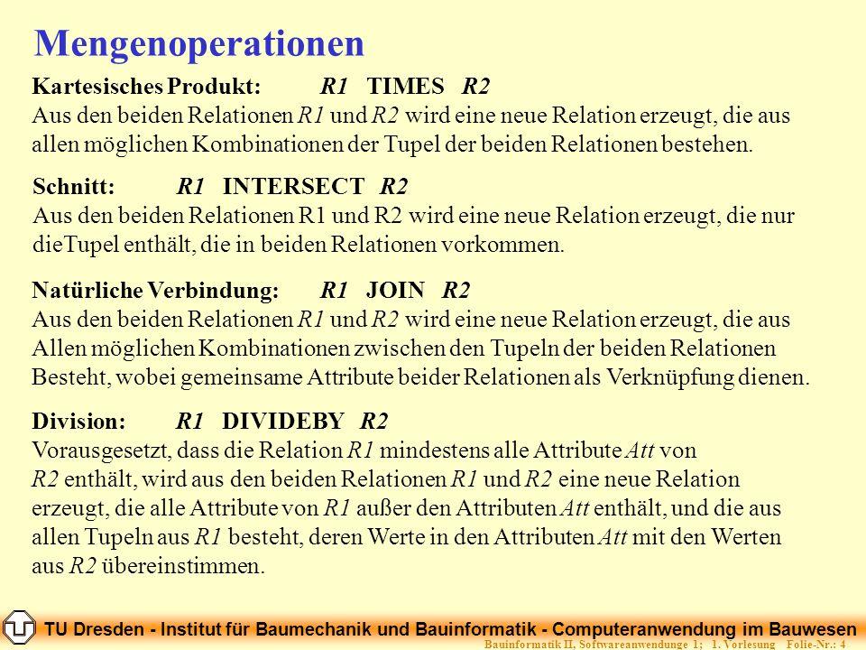 TU Dresden - Institut für Baumechanik und Bauinformatik - Computeranwendung im Bauwesen Folie-Nr.: 4Bauinformatik II, Softwareanwendunge 1; 1. Vorlesu