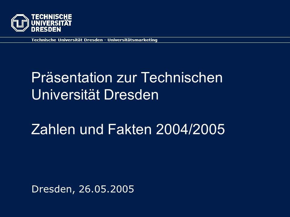 Präsentation zur Technischen Universität Dresden Zahlen und Fakten 2004/2005 Technische Universität Dresden - Universitätsmarketing Dresden, 26.05.200