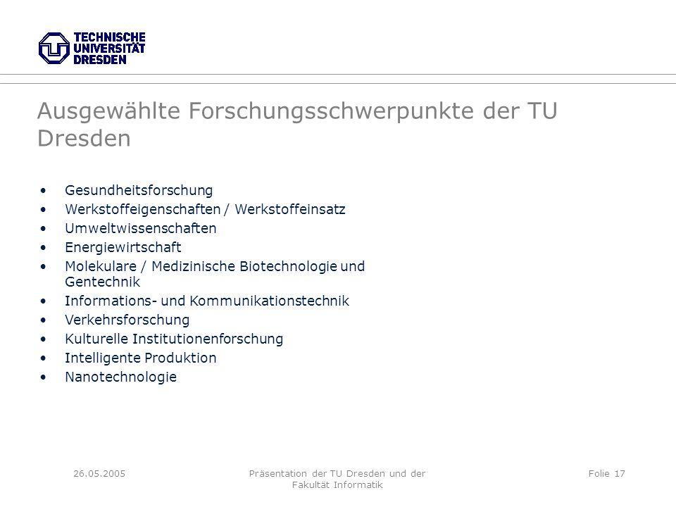 26.05.2005Präsentation der TU Dresden und der Fakultät Informatik Folie 17 Ausgewählte Forschungsschwerpunkte der TU Dresden Gesundheitsforschung Werk