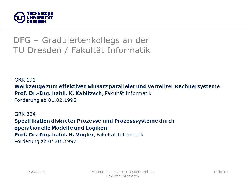 26.05.2005Präsentation der TU Dresden und der Fakultät Informatik Folie 19 DFG – Graduiertenkollegs an der TU Dresden / Fakultät Informatik GRK 191 We