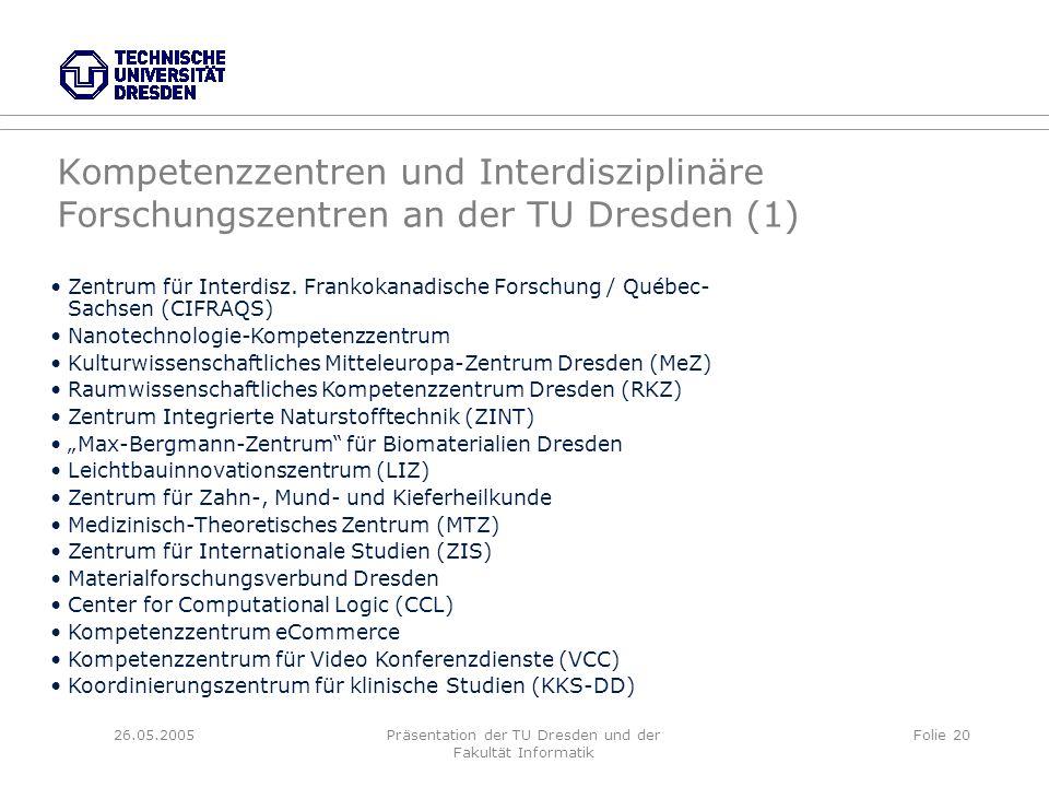 26.05.2005Präsentation der TU Dresden und der Fakultät Informatik Folie 20 Kompetenzzentren und Interdisziplinäre Forschungszentren an der TU Dresden