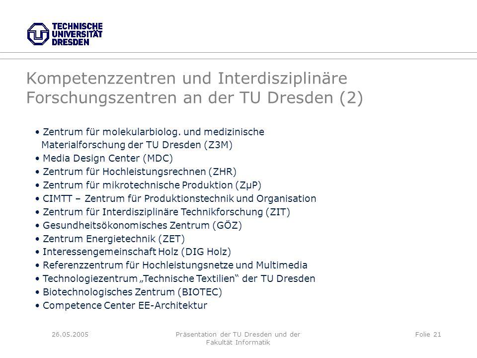 26.05.2005Präsentation der TU Dresden und der Fakultät Informatik Folie 21 Kompetenzzentren und Interdisziplinäre Forschungszentren an der TU Dresden