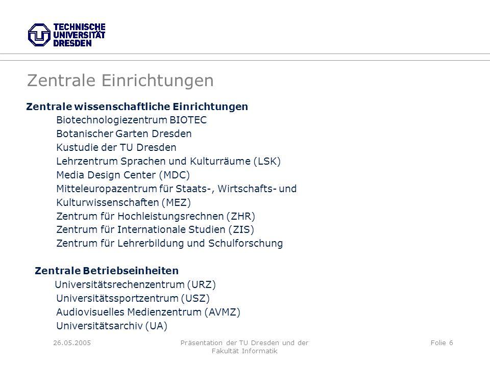 26.05.2005Präsentation der TU Dresden und der Fakultät Informatik Folie 6 Zentrale Einrichtungen Zentrale wissenschaftliche Einrichtungen Biotechnolog