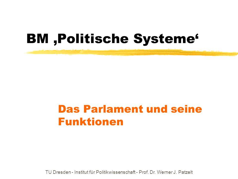 TU Dresden - Institut für Politikwissenschaft - Prof. Dr. Werner J. Patzelt BM Politische Systeme Das Parlament und seine Funktionen