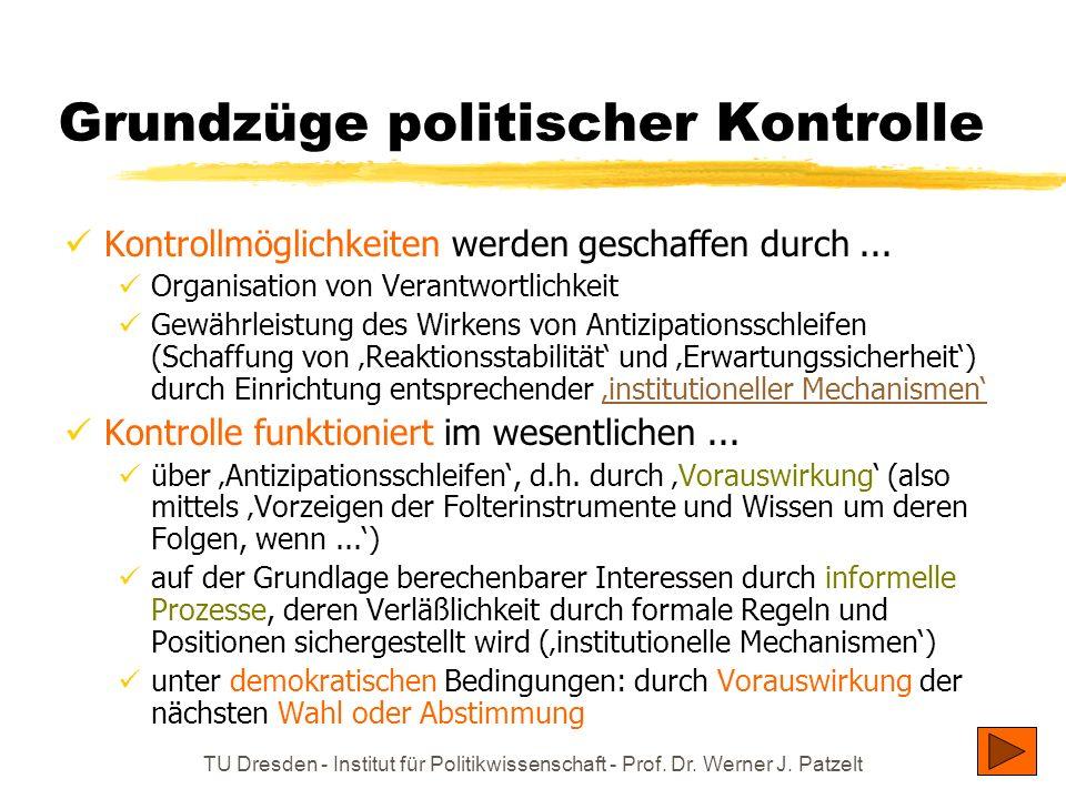 TU Dresden - Institut für Politikwissenschaft - Prof. Dr. Werner J. Patzelt Grundzüge politischer Kontrolle Kontrollmöglichkeiten werden geschaffen du