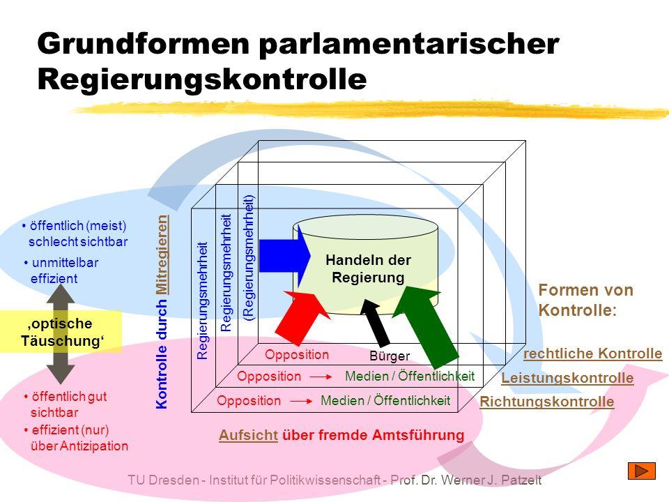 TU Dresden - Institut für Politikwissenschaft - Prof. Dr. Werner J. Patzelt Grundformen parlamentarischer Regierungskontrolle AufsichtAufsicht über fr