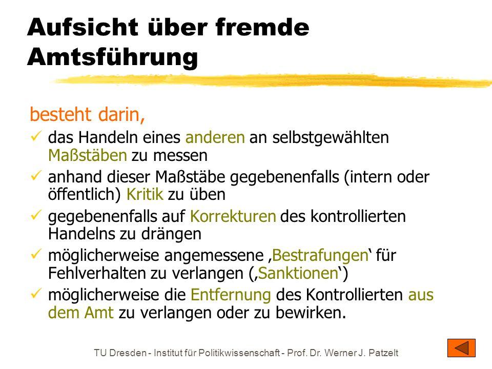 TU Dresden - Institut für Politikwissenschaft - Prof. Dr. Werner J. Patzelt Aufsicht über fremde Amtsführung besteht darin, das Handeln eines anderen