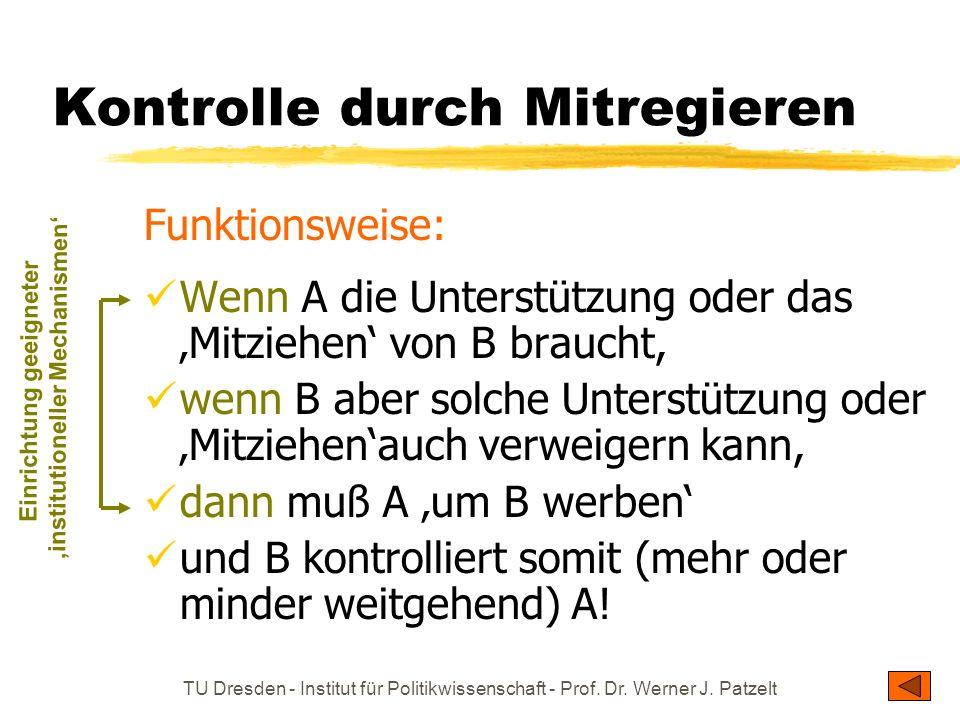 TU Dresden - Institut für Politikwissenschaft - Prof. Dr. Werner J. Patzelt Kontrolle durch Mitregieren Funktionsweise: Wenn A die Unterstützung oder