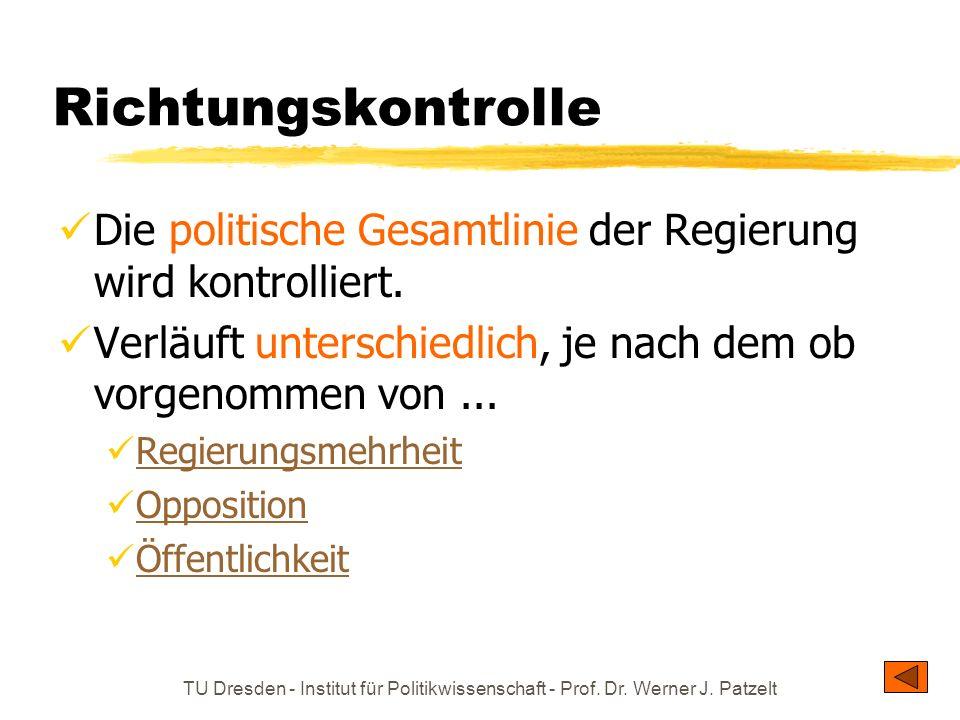 TU Dresden - Institut für Politikwissenschaft - Prof. Dr. Werner J. Patzelt Richtungskontrolle Die politische Gesamtlinie der Regierung wird kontrolli