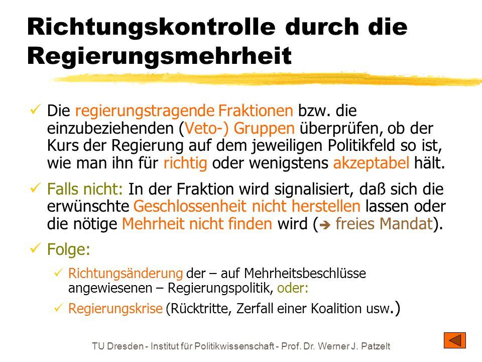TU Dresden - Institut für Politikwissenschaft - Prof. Dr. Werner J. Patzelt Richtungskontrolle durch die Regierungsmehrheit Die regierungstragende Fra