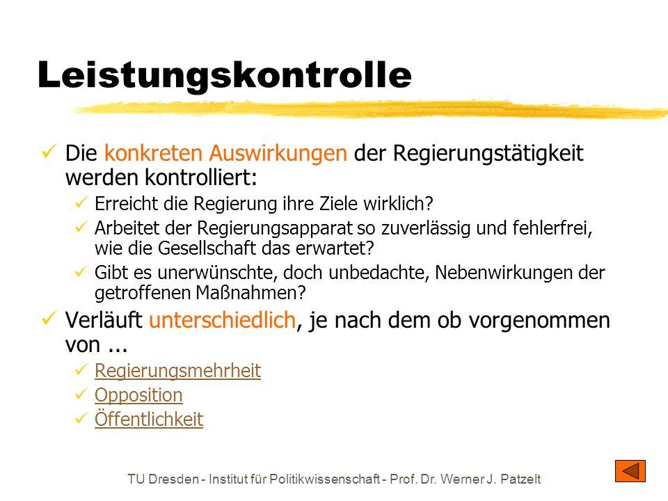 TU Dresden - Institut für Politikwissenschaft - Prof. Dr. Werner J. Patzelt Leistungskontrolle Die konkreten Auswirkungen der Regierungstätigkeit werd