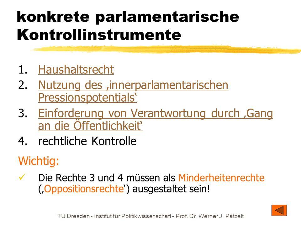 TU Dresden - Institut für Politikwissenschaft - Prof. Dr. Werner J. Patzelt konkrete parlamentarische Kontrollinstrumente 1.HaushaltsrechtHaushaltsrec