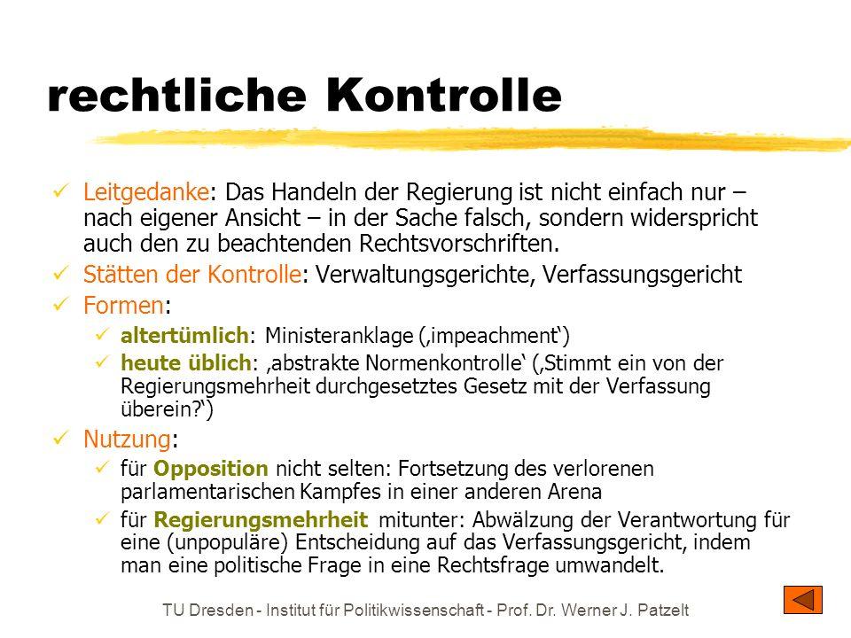 TU Dresden - Institut für Politikwissenschaft - Prof. Dr. Werner J. Patzelt rechtliche Kontrolle Leitgedanke: Das Handeln der Regierung ist nicht einf