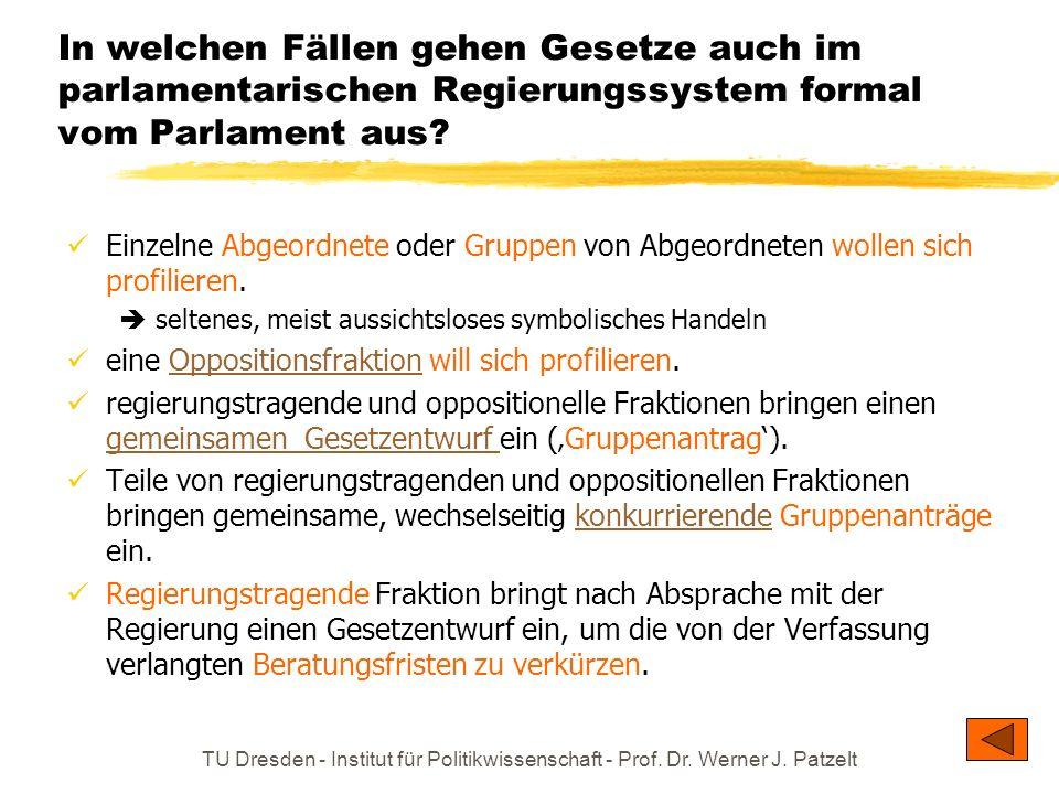 TU Dresden - Institut für Politikwissenschaft - Prof. Dr. Werner J. Patzelt In welchen Fällen gehen Gesetze auch im parlamentarischen Regierungssystem