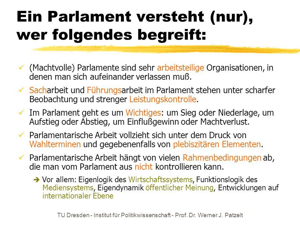 TU Dresden - Institut für Politikwissenschaft - Prof. Dr. Werner J. Patzelt Ein Parlament versteht (nur), wer folgendes begreift: (Machtvolle) Parlame