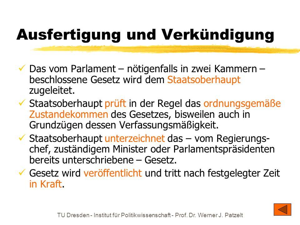 TU Dresden - Institut für Politikwissenschaft - Prof. Dr. Werner J. Patzelt Ausfertigung und Verkündigung Das vom Parlament – nötigenfalls in zwei Kam