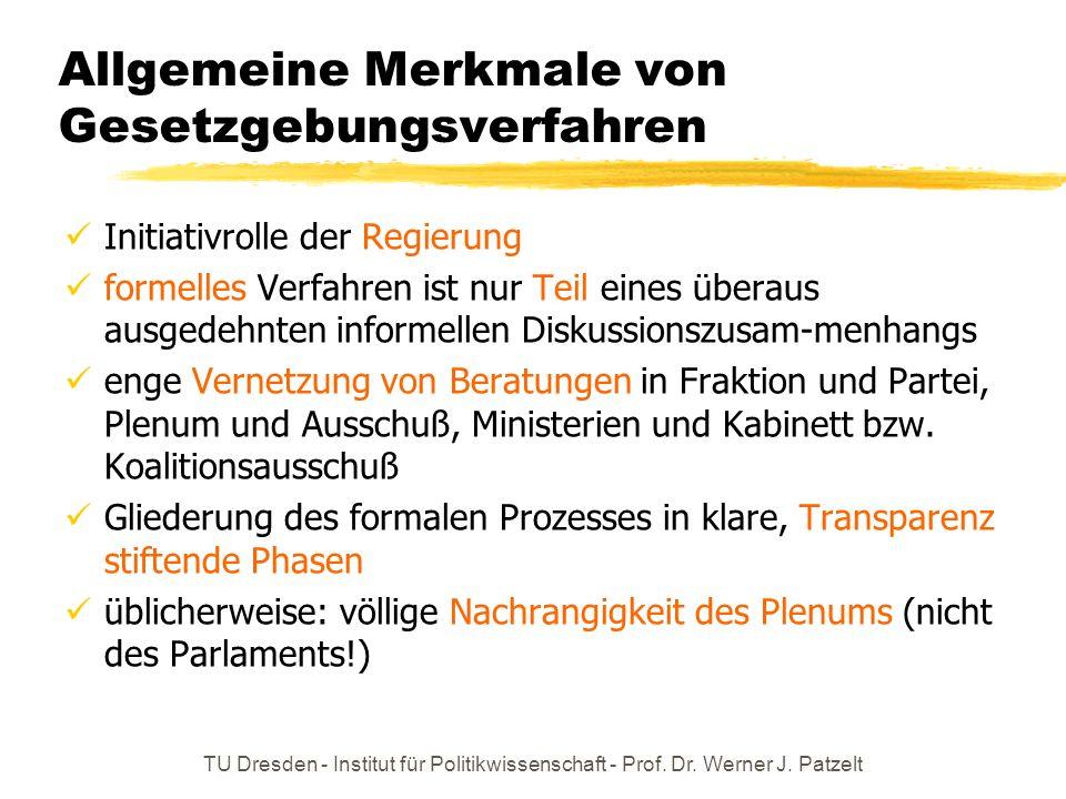 TU Dresden - Institut für Politikwissenschaft - Prof. Dr. Werner J. Patzelt Allgemeine Merkmale von Gesetzgebungsverfahren Initiativrolle der Regierun
