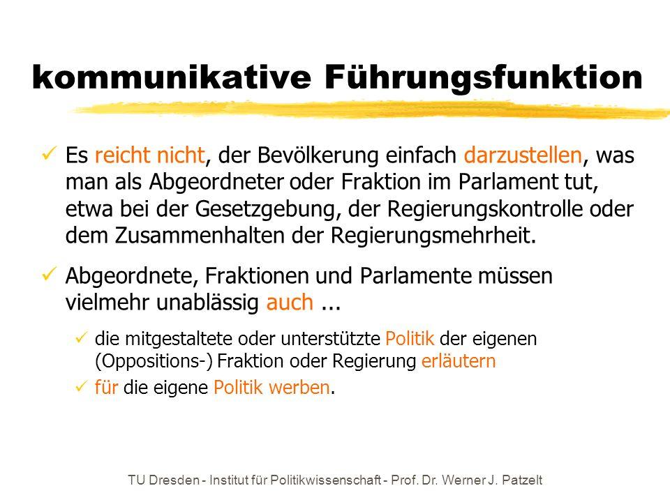TU Dresden - Institut für Politikwissenschaft - Prof. Dr. Werner J. Patzelt kommunikative Führungsfunktion Es reicht nicht, der Bevölkerung einfach da