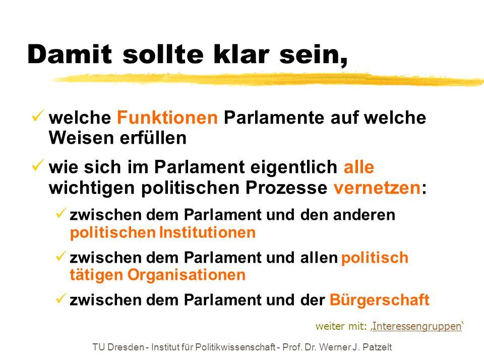TU Dresden - Institut für Politikwissenschaft - Prof. Dr. Werner J. Patzelt Damit sollte klar sein, welche Funktionen Parlamente auf welche Weisen erf