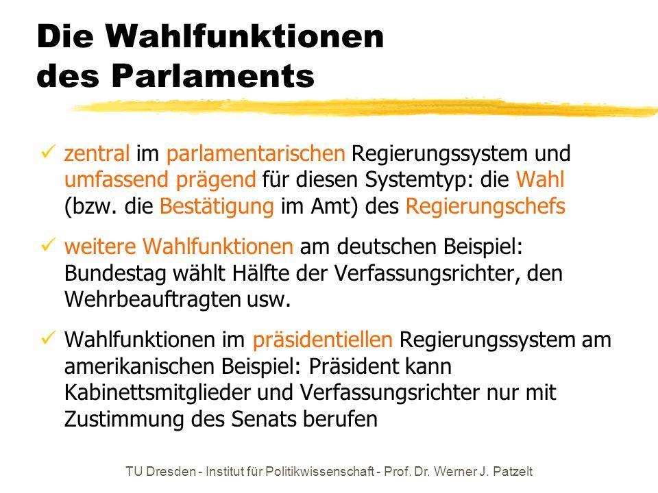 TU Dresden - Institut für Politikwissenschaft - Prof. Dr. Werner J. Patzelt Die Wahlfunktionen des Parlaments zentral im parlamentarischen Regierungss