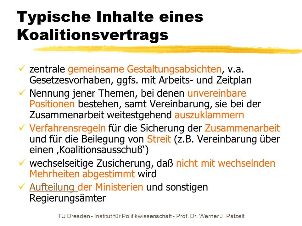 TU Dresden - Institut für Politikwissenschaft - Prof. Dr. Werner J. Patzelt Typische Inhalte eines Koalitionsvertrags zentrale gemeinsame Gestaltungsa