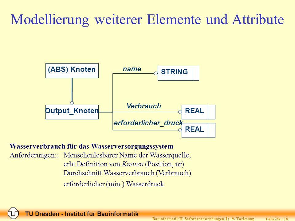 TU Dresden - Institut für Bauinformatik Folie-Nr.: 18 Bauinformatik II, Softwareanwendungen 1; 9. Vorlesung Wasserverbrauch für das Wasserversorgungss