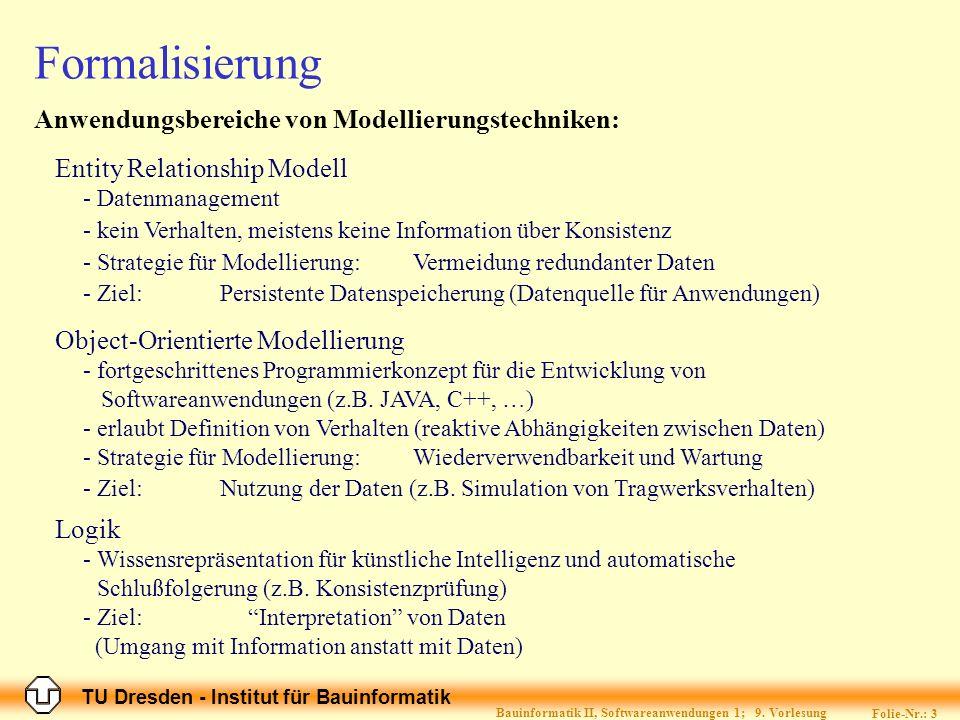 TU Dresden - Institut für Bauinformatik Folie-Nr.: 3 Bauinformatik II, Softwareanwendungen 1; 9. Vorlesung Formalisierung Anwendungsbereiche von Model