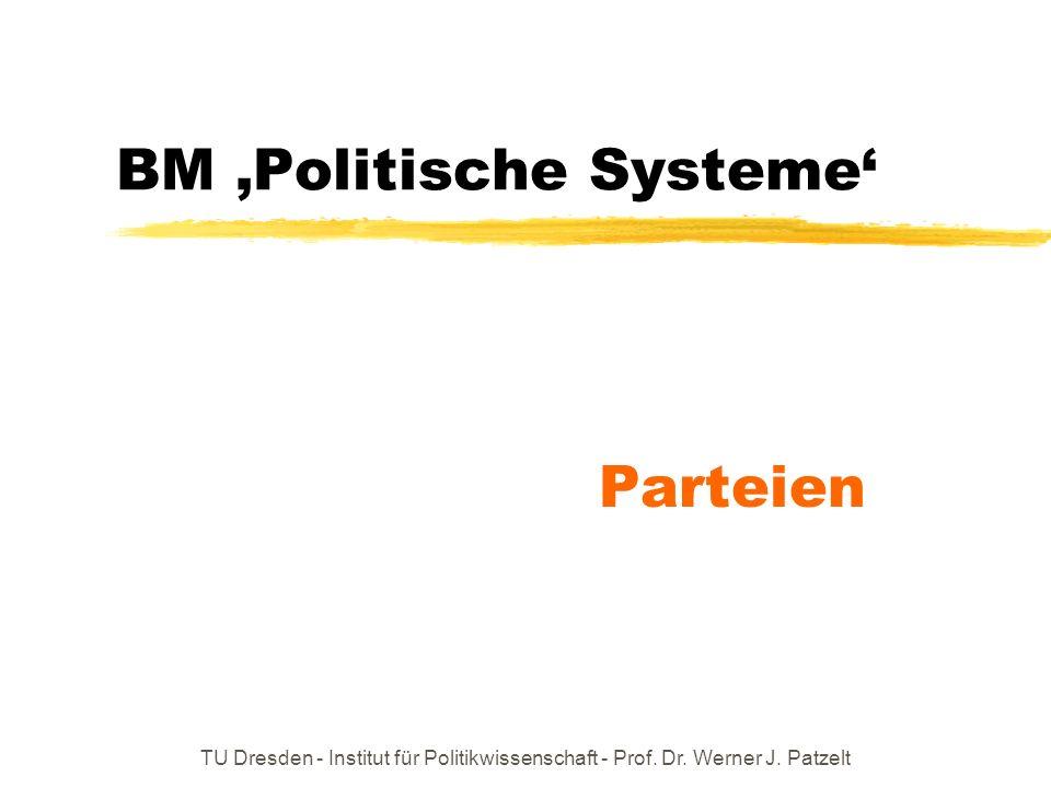 TU Dresden - Institut für Politikwissenschaft - Prof. Dr. Werner J. Patzelt BM Politische Systeme Parteien