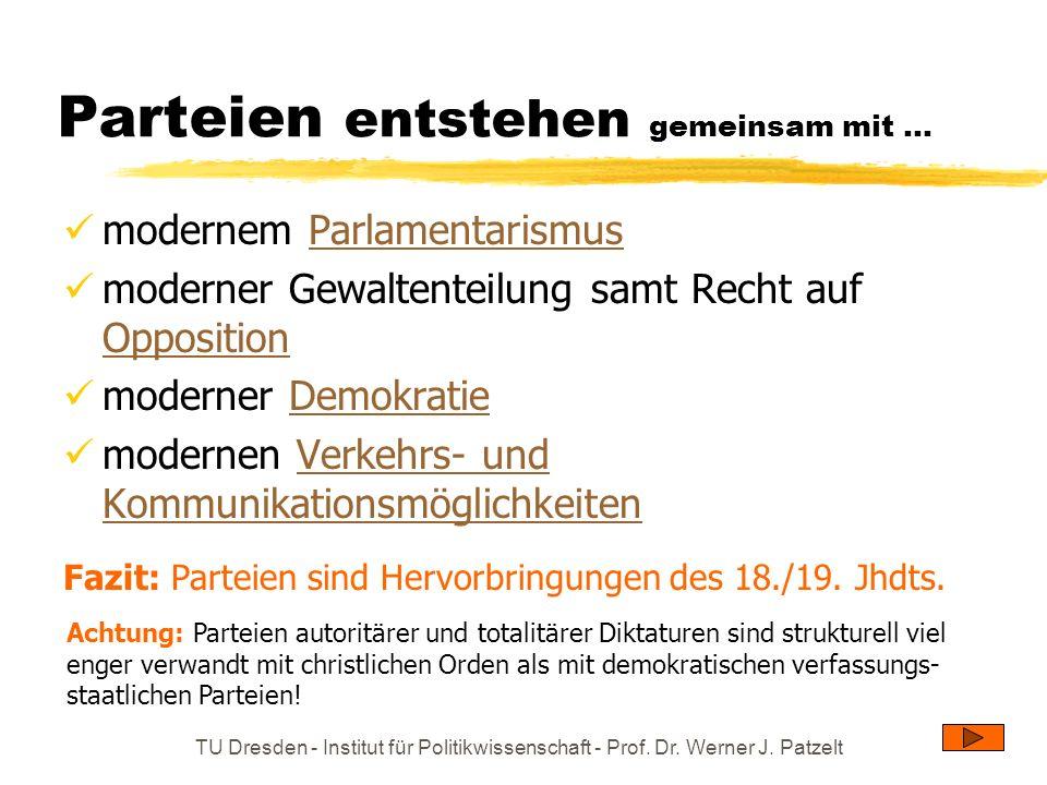 TU Dresden - Institut für Politikwissenschaft - Prof. Dr. Werner J. Patzelt Parteien entstehen gemeinsam mit... modernem ParlamentarismusParlamentaris