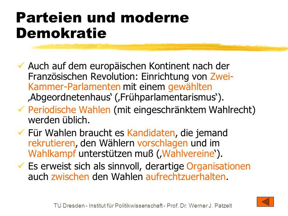 TU Dresden - Institut für Politikwissenschaft - Prof. Dr. Werner J. Patzelt Parteien und moderne Demokratie Auch auf dem europäischen Kontinent nach d