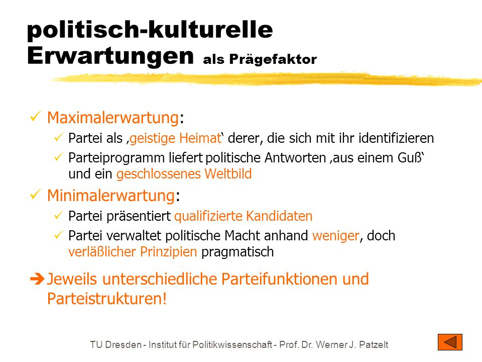 TU Dresden - Institut für Politikwissenschaft - Prof. Dr. Werner J. Patzelt politisch-kulturelle Erwartungen als Prägefaktor Maximalerwartung: Partei