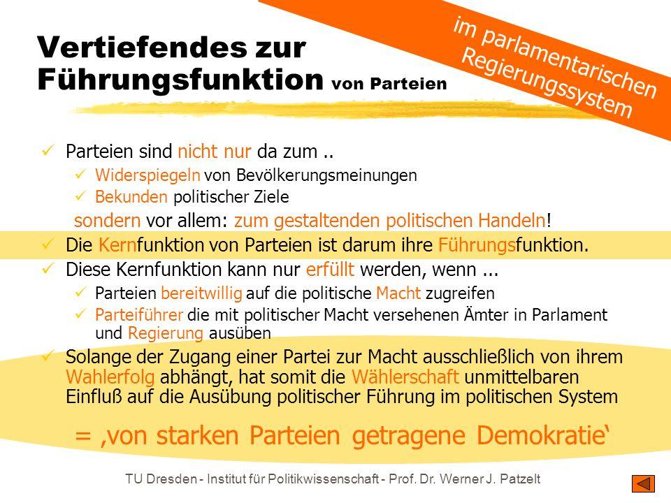 TU Dresden - Institut für Politikwissenschaft - Prof. Dr. Werner J. Patzelt Vertiefendes zur Führungsfunktion von Parteien Parteien sind nicht nur da