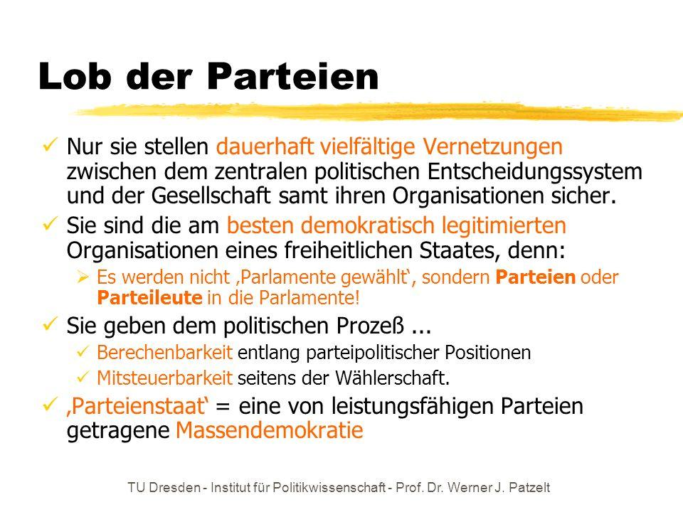 TU Dresden - Institut für Politikwissenschaft - Prof. Dr. Werner J. Patzelt Lob der Parteien Nur sie stellen dauerhaft vielfältige Vernetzungen zwisch