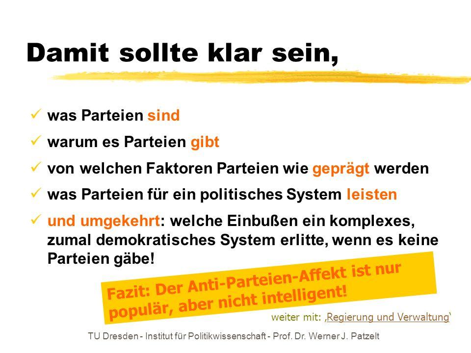 TU Dresden - Institut für Politikwissenschaft - Prof. Dr. Werner J. Patzelt Damit sollte klar sein, was Parteien sind warum es Parteien gibt von welch